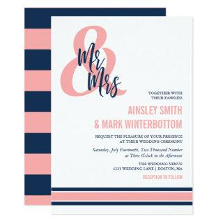 Preppy Coral & Navy Mr & Mrs Wedding Invitations