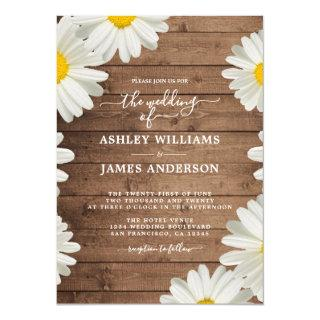 Pretty Daisies White Floral Rustic Wood Wedding Invitations