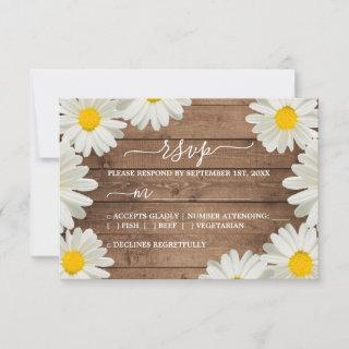 Pretty Daisies White Floral Rustic Wood Wedding RSVP Card