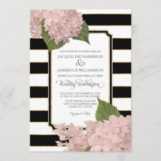 Pretty Floral Modern Elegant Black White Stripe Invitations