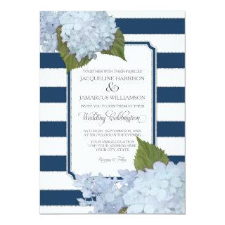 Pretty Floral Modern Elegant Navy White Stripe Invitation