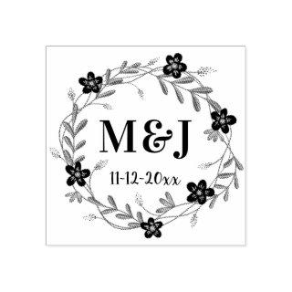 Pretty Flowers Monograms and Date Custom Wedding Rubber Stamp