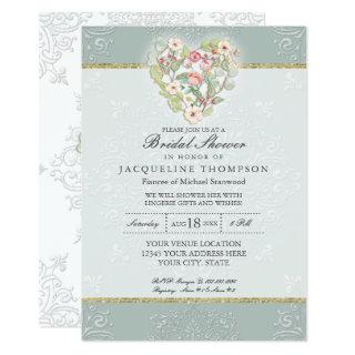 Pretty Lace Dusty Silver Sage Floral Bridal Shower Invitations