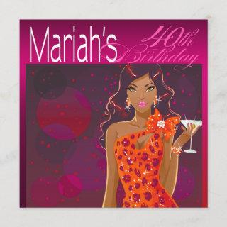 Pretty Lady Birthday Cocktail fuschia/orange Invitation