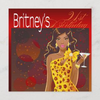 Pretty Lady Birthday Cocktail Party red/yellow Invitation