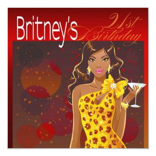 Pretty Lady Birthday Cocktail Party red/yellow Invitations