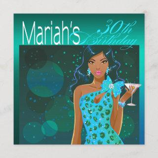 Pretty Lady Birthday Cocktail Party teal/aqua Invitations