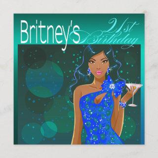 Pretty Lady Birthday Cocktail teal/blue Invitation