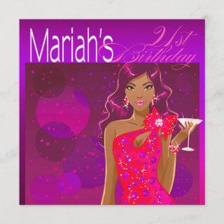 Pretty Lady Birthday Cocktail violet/fuschia Invitations