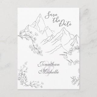 Pretty Mountains and Flowers Save the Date Wedding Announcement Postcard