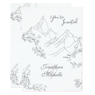 Pretty Mountains, Flowers and Branches Wedding Invitation