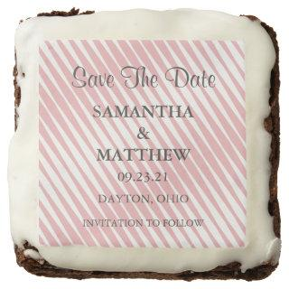 Pretty Pastel Pink Abstract Wedding Save The Date Brownie