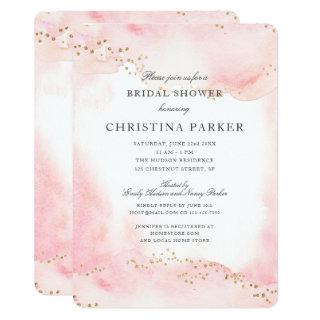Pretty Pink and Faux Gold Glitter Bridal Shower Invitations