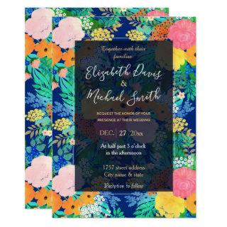 Pretty Pink & Orange Flowers Classic Blue Paint Invitations