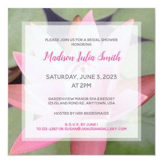 Pretty Pink Water Lily Bridal Shower Invitation