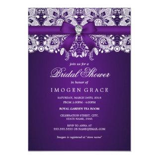 Pretty Purple Lace & Diamond Bow Bridal Shower Invitations