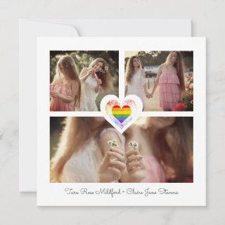 Pride Rainbow Heart Lesbian Gay Wedding 3 Photos Save The Date