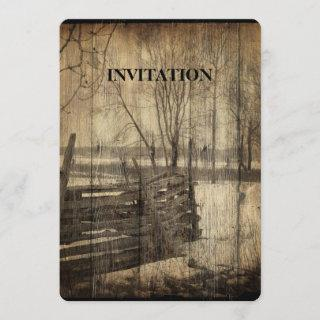 Primitive western country old wood fence farm invitation