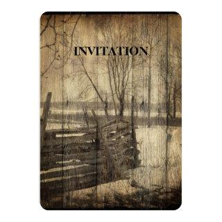 Primitive western country old wood fence farm Invitations