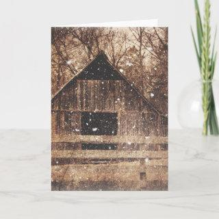 Primitive Winter Snow Country Rural Old Barn Holiday Card