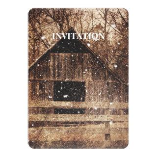 Primitive Winter Snow Country Rural Old Barn Invitations