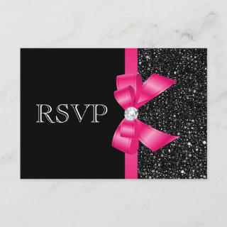 Printed Black Sequins and Hot Pink Bow RSVP