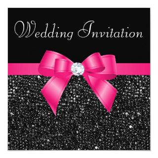 Printed Black Sequins and Hot Pink Bow Wedding Invitations