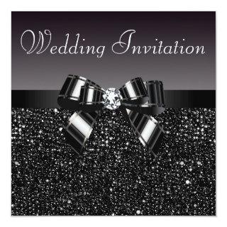 Printed Black Sequins, Bow & Diamond Wedding Invitations