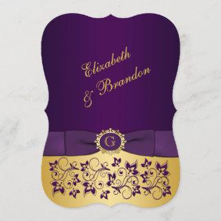 PRINTED BOW Purple, Gold Floral Wedding Invite 6