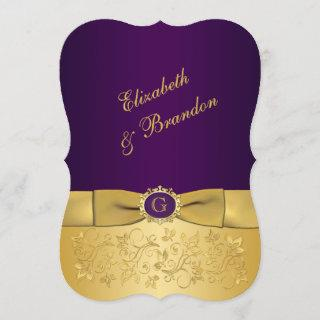 PRINTED BOW Purple, Gold Floral Wedding Invite 8