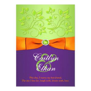 PRINTED BOW Purple Orange Green Wedding Invitation