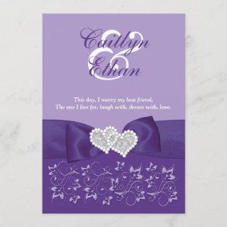 PRINTED BOW Purple White Floral Wedding Invitations