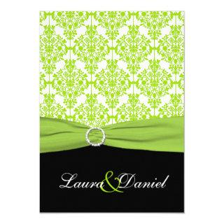 PRINTED RIBBON Black, Green Damask Wedding Invite