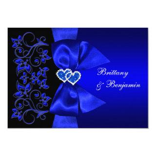 PRINTED RIBBON Blue, Black Floral Wedding Invite