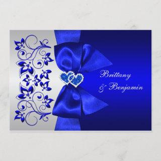 PRINTED RIBBON Blue, Silver Floral Wedding Invite