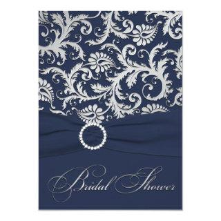 PRINTED RIBBON Navy, Silver Bridal Shower Invite