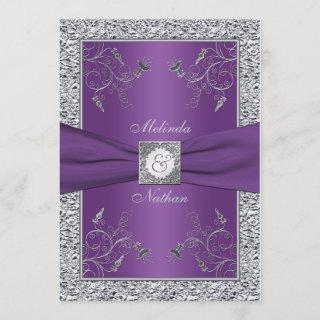 PRINTED RIBBON Purple Silver Wedding Invitations