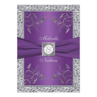 PRINTED RIBBON Purple Silver Wedding Invitation