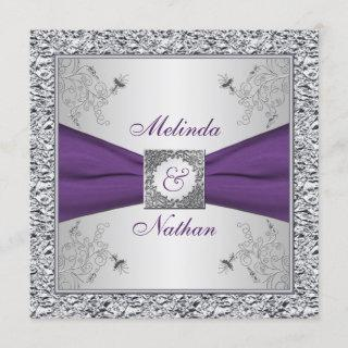 PRINTED RIBBON Purple Silver Wedding Invitations II