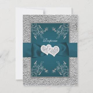 PRINTED RIBBON Teal, Gray Joined Hearts RSVP Card