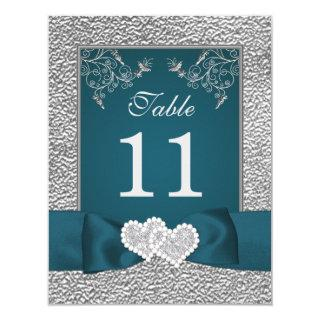 PRINTED RIBBON Teal Gray Joined Hearts Table Card