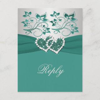PRINTED RIBBON Teal, Silver Floral Reply Card