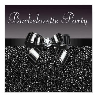 Printed Sequins, Bow & Diamond Bachelorette Party Invitations