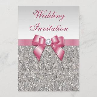 Printed Silver Sequins and Bow Pink Wedding Invitation