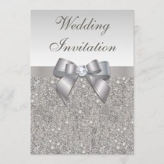 Printed Silver Sequins Diamonds and Bow Wedding Invitations
