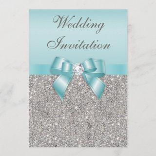 Printed Silver Sequins Diamonds Teal Bow Wedding Invitations