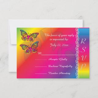 Psychedelic Butterfly Wedding Designs RSVP Card