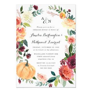 Pumpkin Autumn Chic Floral Rustic Rehearsal Dinner Invitation