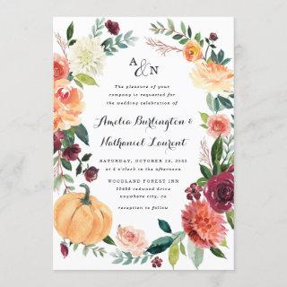 Pumpkin Elegant Fall Floral Rustic Themed Wedding Invitations