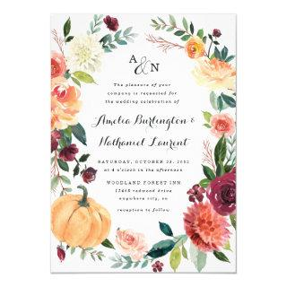 Pumpkin Elegant Fall Floral Rustic Themed Wedding Invitation